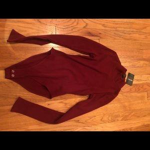 Maroon turtleneck bodysuit with open back